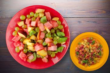 Vegetarian salad of fruit on a plate