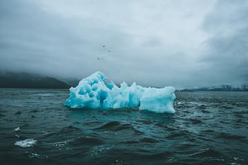 Ominous Iceberg in Dark Sea Water