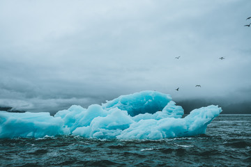 Blue iceberg in dark and rough waters