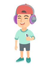 Caucasian boy enjoying music in headphones. Little boy in earphones listening to music with a music player. Vector sketch cartoon illustration isolated on white background.