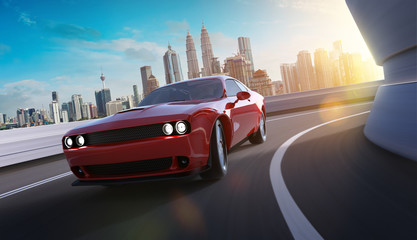 Front angle view of a generic red brandless American muscle car in a city street road  with motion blur . Transportation concept . 3D Rendering . Mixed media .