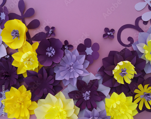 Paper Craft Flower Decoration Concept Leaves Made Of Paper Stock