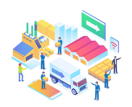 Modern Isometric Smart Logistic Illustration in White Isolated Background