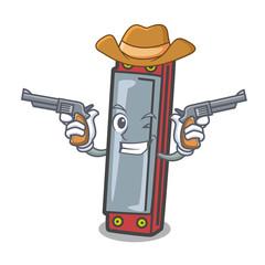 Cowboy harmonica character cartoon style