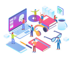 Modern Isometric Smart Office Workspace Illustration in White Isolated Background