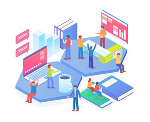 Modern Isometric Technology Startup Office Illustration in White Isolated Background With People and Digital Related Asset