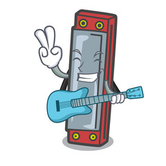 With guitar harmonica mascot cartoon style