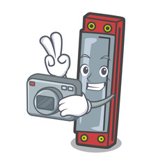 Photographer harmonica mascot cartoon style