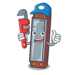 Plumber harmonica mascot cartoon style