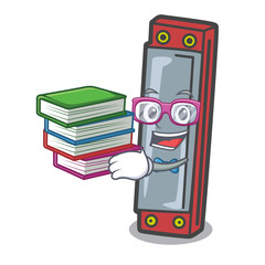 Student with book harmonica mascot cartoon style
