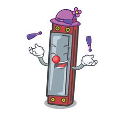 Juggling harmonica mascot cartoon style