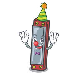 Clown harmonica mascot cartoon style
