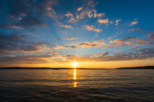 Sunset over Torch Lake in northern Michigan