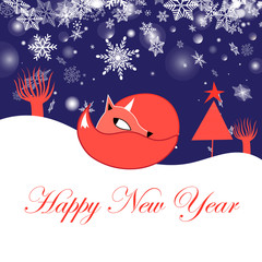 Festive New Year greeting card with fox