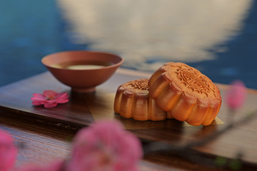 Moon cake on the red background,Asian traditional festival, Mid-Autumn festival.Chinese traditional festival.