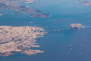 Aerial view of San Francisco and Bay Bridge
