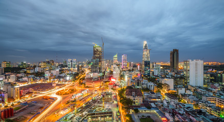 Beautiful sunset of Ho Chi Minh city skyline - Administrative and Financial district