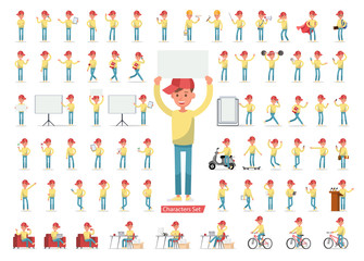 Set of men character vector design. Presentation in various action with emotions, running, standing, walking and working. no4