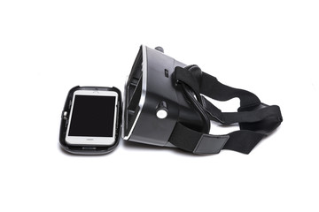 vr glasses with smartphone isolated white