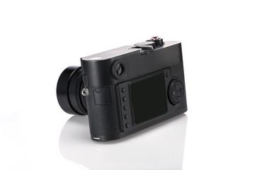 vintage rf camera backside isolated white.