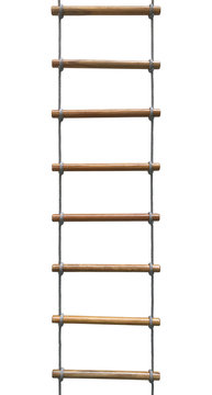 Rope wooden ladder isolated on white background