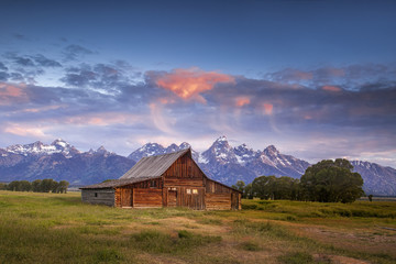 Early morning clouds over Mormon Row in Wyoming's Grand Teton National Park