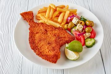 close-up fried flounder on a plate