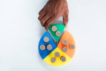 Hand Taking Piece Of Pie Chart With Stack Of Coins