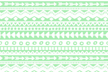 Green and white geometric background. Ethnic hand drawn pattern