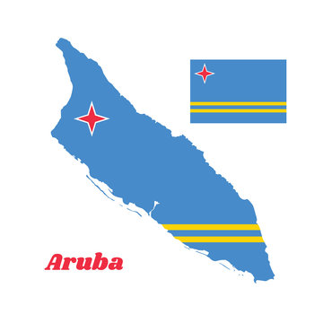 Map outline and flag of Aruba, a field of light blue and two narrow parallel horizontal yellow stripes in the bottom half, and a four pointed white and red star in the canton.