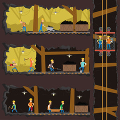 men extract coal in the mine.