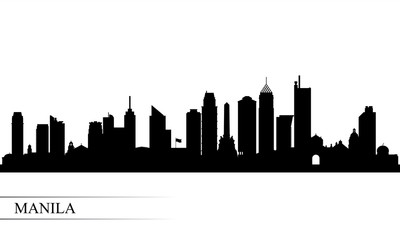 Manila city skyline silhouette background