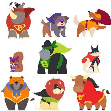 animals in superhero costumes.
