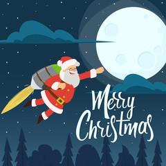 Santa Claus is flying on jetpacks