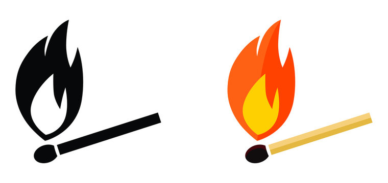 Simple burning match icon. Black and white, color version.