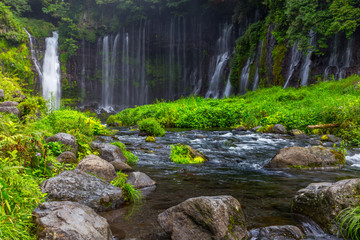 Shiraito waterfall in the southwestern foothills of Mount Fuji, Shizuoka, Japan