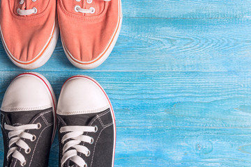 Sneakers on a wooden background