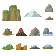 Different mountains cartoon icons in set collection for design.Mountains and landscape vector symbol stock web illustration.