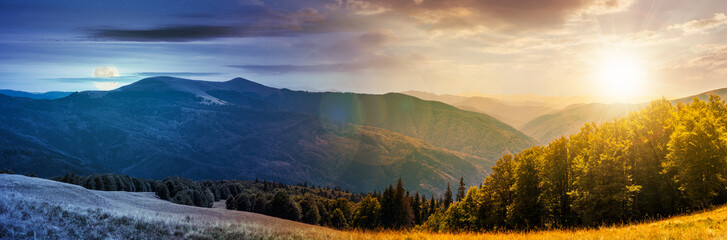 Spoed Foto op Canvas Beige panorama of a day to night change concept in mountainous landscape. lovely summer landscape