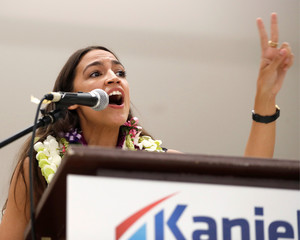 Democrat Alexandria Ocasio-Cortez campaigns for fellow Democrat Kaniela Ing ahead of the Democratic Primary Election in Honolulu