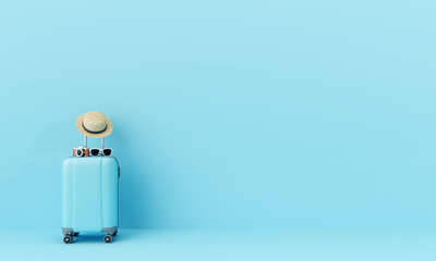 Blue suitcase with sun glasses, hat and camera on pastel blue background. travel concept minimal . 3d rendering