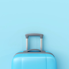 Wall Mural - Blue suitcase on pastel blue background. minimal travel concept. 3d render