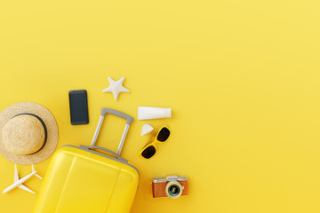 Wall Mural - Flat lay yellow suitcase with traveler accessories on yellow background. travel concept. 3d render