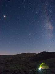 Tent under stars in desert vacation