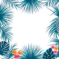 Vector tropical jungle background with palm trees and leaves.