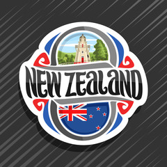 Vector logo for New Zealand country, fridge magnet with new zealandian state flag, original brush typeface for words new zealand and national symbol of NZ - Akaroa Lighthouse on cloudy sky background.