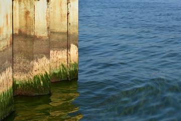 Rusty breakwater.