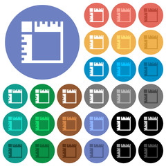 Canvas rulers round flat multi colored icons