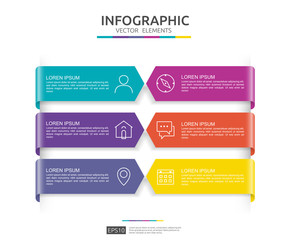 6 steps infographic. timeline design template with 3D paper label. Business concept with options. For content, diagram, flowchart, steps, parts, workflow layout, chart.