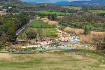 Panoramic view of Saturnia thermal baths, Grosseto, Tuscany, Italy